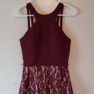A maroon dress